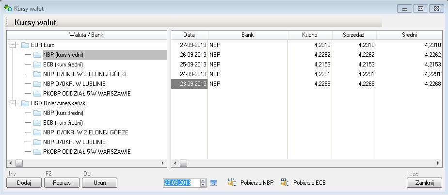 f28b07f1c3f809 Na formatce Tabela kursów wyświetlane są zarówno kursy średnie NBP i ECB,  jak i tabele kursów banków firmy. Aby tabela banku była widoczna w tabeli  kursów, ...